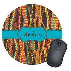 Tribal Ribbons Round Mouse Pad (Personalized)