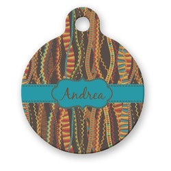 Tribal Ribbons Round Pet Tag (Personalized)