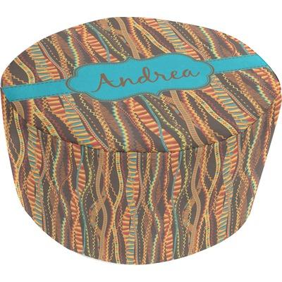 Tribal Ribbons Round Pouf Ottoman (Personalized)
