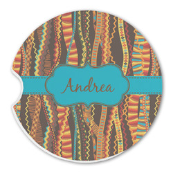 Tribal Ribbons Sandstone Car Coasters (Personalized)