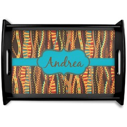 Tribal Ribbons Black Wooden Tray (Personalized)