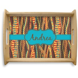Tribal Ribbons Natural Wooden Tray - Large (Personalized)