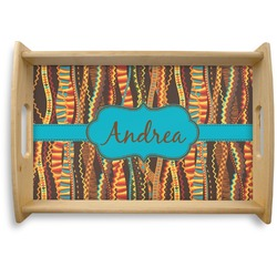 Tribal Ribbons Natural Wooden Tray (Personalized)