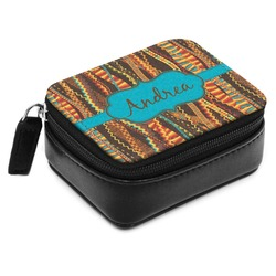 Tribal Ribbons Small Leatherette Travel Pill Case (Personalized)