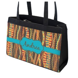 Tribal Ribbons Zippered Everyday Tote w/ Name or Text