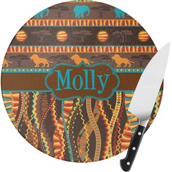 African Lions & Elephants Round Glass Cutting Board - Small (Personalized)
