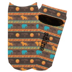 African Lions & Elephants Adult Ankle Socks (Personalized)