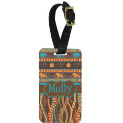 African Lions & Elephants Metal Luggage Tag w/ Name or Text