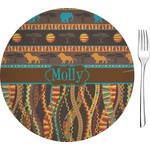 """African Lions & Elephants Glass Appetizer / Dessert Plates 8"""" - Single or Set (Personalized)"""