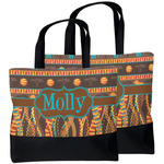 African Lions & Elephants Beach Tote Bag (Personalized)