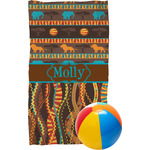 African Lions & Elephants Beach Towel (Personalized)