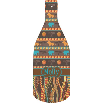 African Lions & Elephants Bottle Shaped Cutting Board (Personalized)