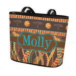 African Lions & Elephants Bucket Tote w/ Genuine Leather Trim (Personalized)