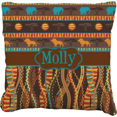 """African Lions & Elephants Faux-Linen Throw Pillow 16"""" (Personalized)"""