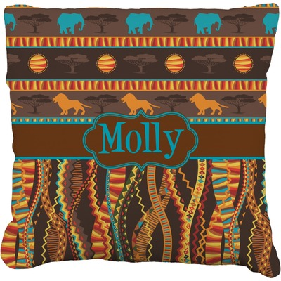"African Lions & Elephants Faux-Linen Throw Pillow 18"" (Personalized)"