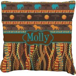 African Lions & Elephants Faux-Linen Throw Pillow (Personalized)
