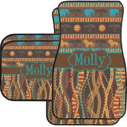 African Lions & Elephants Car Floor Mats Set - 2 Front & 2 Back (Personalized)