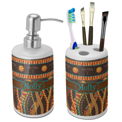 African Lions & Elephants Bathroom Accessories Set (Ceramic) (Personalized)