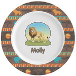 African Lions & Elephants Ceramic Dinner Plates (Set of 4) (Personalized)