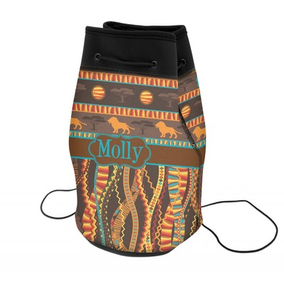 African Lions & Elephants Neoprene Drawstring Backpack (Personalized)