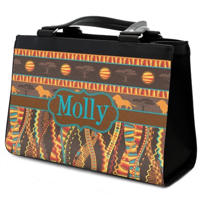 African Lions & Elephants Classic Tote Purse w/ Leather Trim (Personalized)