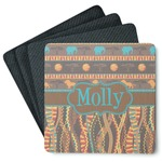 African Lions & Elephants 4 Square Coasters - Rubber Backed (Personalized)