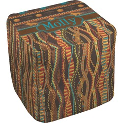 """African Lions & Elephants Cube Pouf Ottoman - 18"""" (Personalized)"""