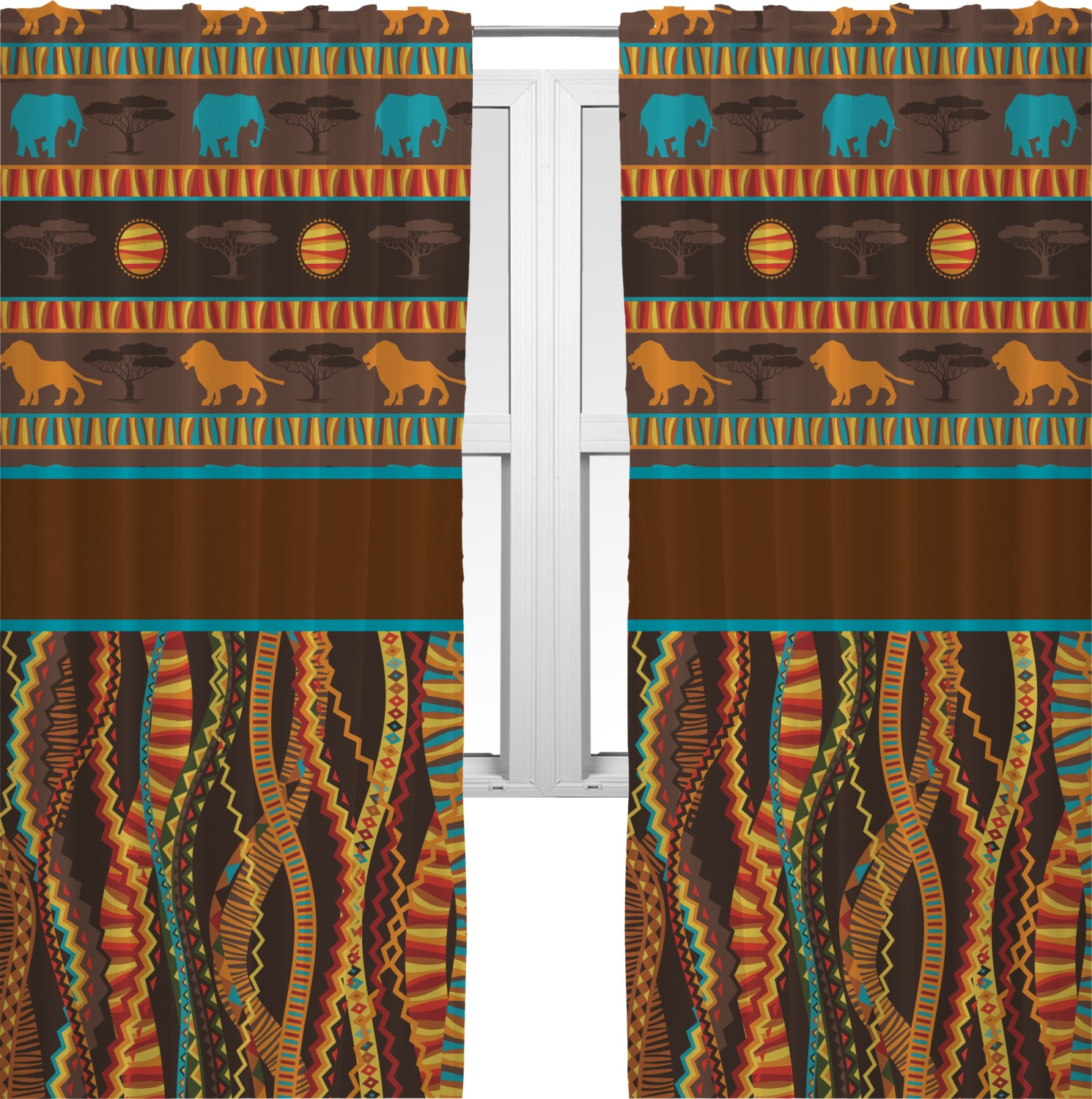 African Lions & Elephants Curtains