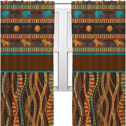 African Lions & Elephants Curtains (2 Panels Per Set) (Personalized)