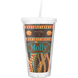 African Lions & Elephants Double Wall Tumbler with Straw (Personalized)