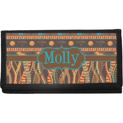 African Lions & Elephants Canvas Checkbook Cover (Personalized)