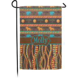 African Lions & Elephants Garden Flag With Pole (Personalized)