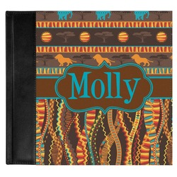 African Lions & Elephants Genuine Leather Baby Memory Book (Personalized)