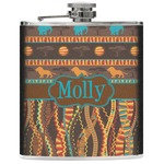 African Lions & Elephants Genuine Leather Flask (Personalized)