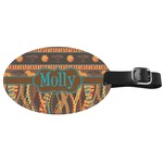 African Lions & Elephants Genuine Leather Oval Luggage Tag (Personalized)