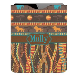 African Lions & Elephants Genuine Leather iPad Sleeve (Personalized)