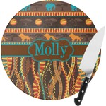 African Lions & Elephants Round Glass Cutting Board (Personalized)