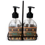 African Lions & Elephants Soap & Lotion Dispenser Set (Glass) (Personalized)