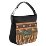 African Lions & Elephants Hobo Purse w/ Genuine Leather Trim (Personalized)
