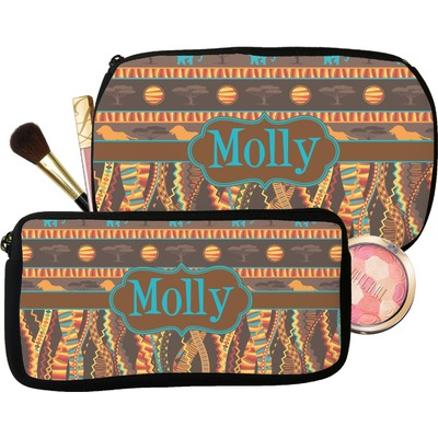 African Lions & Elephants Makeup / Cosmetic Bag (Personalized)