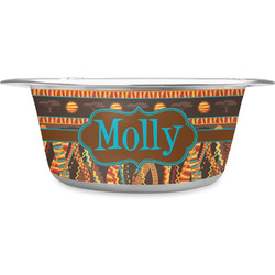 African Lions & Elephants Stainless Steel Pet Bowl - Medium (Personalized)