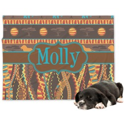African Lions & Elephants Minky Dog Blanket - Regular (Personalized)