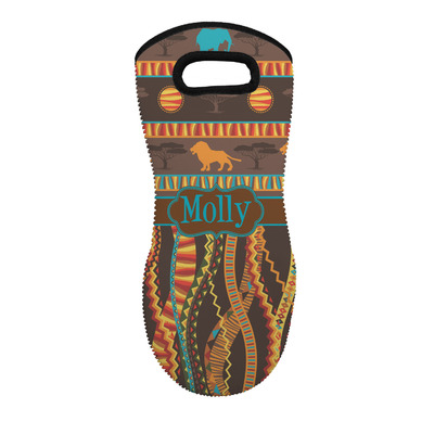 African Lions & Elephants Neoprene Oven Mitt - Single w/ Name or Text