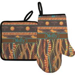 African Lions & Elephants Oven Mitt & Pot Holder Set w/ Name or Text