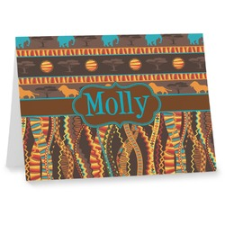 African Lions & Elephants Notecards (Personalized)