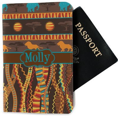 African Lions & Elephants Passport Holder - Fabric (Personalized)