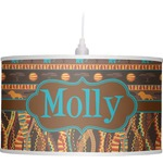 African Lions & Elephants Drum Pendant Lamp (Personalized)