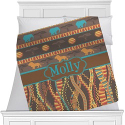African Lions & Elephants Blanket (Personalized)