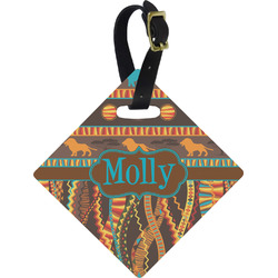 African Lions & Elephants Diamond Luggage Tag (Personalized)