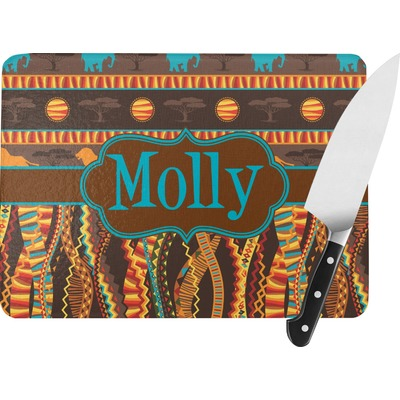 African Lions & Elephants Rectangular Glass Cutting Board (Personalized)